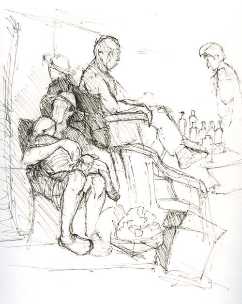 Sketching at the Farmer's market Nap time Micron pen in Stillman & Birn Delta Series sketchbook