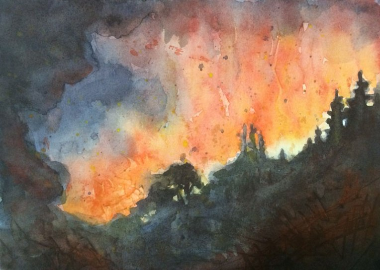 Fire Watercolor on #300 hot press Arches