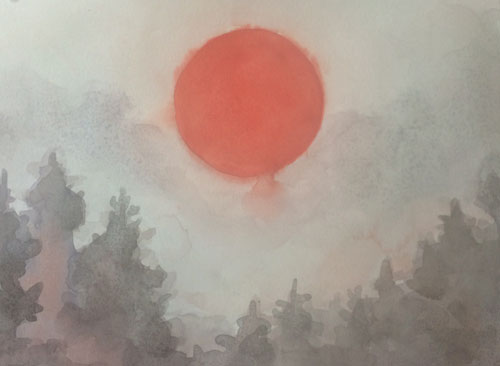 Red Sun Watercolor on #300 hot press Arches