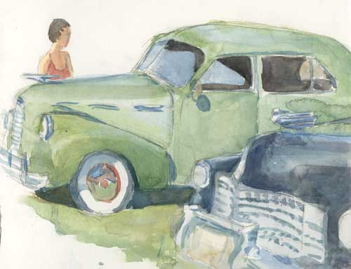 Green car painting
