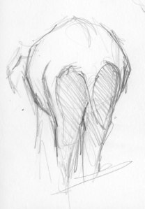 Graphite sketch of Thika the elephant at PAWS