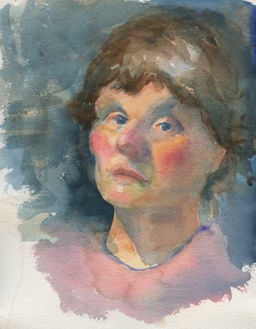 "Self portrait 8"" x 10"" watercolor on Arches 140# hot press"