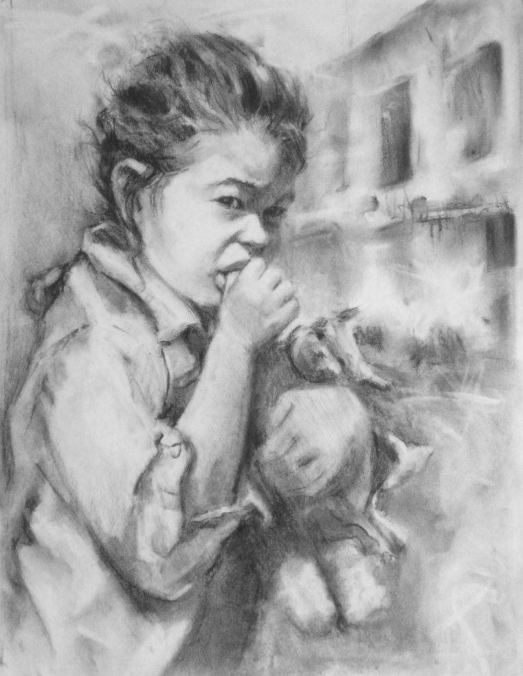 charcoal drawing of girl